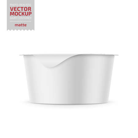 Round white plastic pot with matte carton wrap and foil cover for dairy products, yogurt, cream, dessert. 130 g. Photo-realistic packaging mockup template. Vector 3d illustration.
