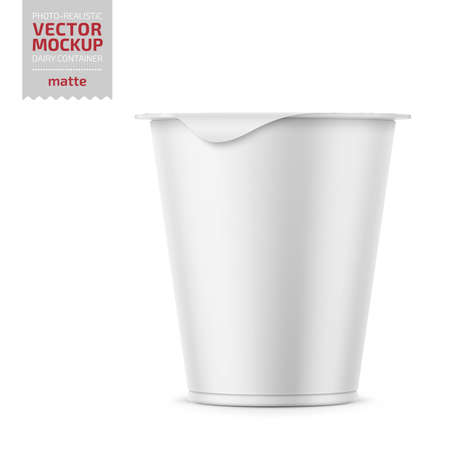 Round plastic pot with matte carton wrap and foil cover for dairy products, yogurt, cream, dessert. 290 g. Realistic packaging mockup template. Vector illustration.