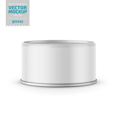 Low-profile glossy tuna can with label on white background. Photo-realistic packaging vector mockup template. Vector 3d illustration. 向量圖像