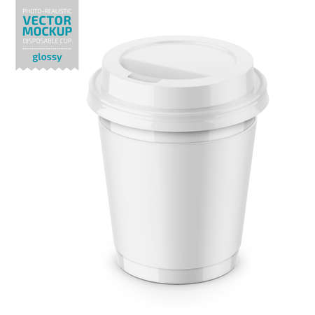 White glossy disposable cup with paper sleeve and plastic lid for hot beverage coffee, tea, espresso. 250 ml. Photo-realistic packaging mockup template. Vector 3d illustration. Ilustracja