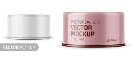 Le thon glacé à profil bas peut avec étiquette sur fond blanc. Modèle de maquette de vecteur d'emballage photo-réaliste avec conception d'échantillon. Illustration 3d vectorielle.