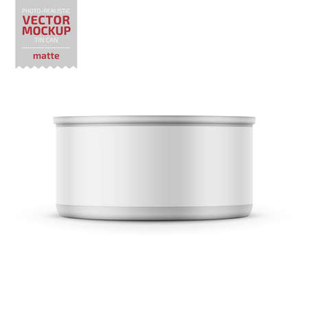 Low-profile matte tuna can with label on white background. Photo-realistic packaging vector mockup template. Vector 3d illustration. Standard-Bild - 111910660