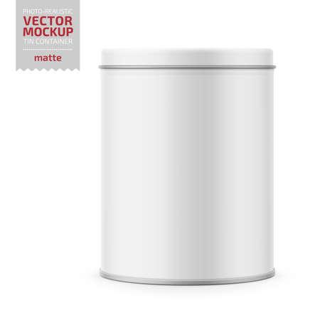 Round white matte tin can with lid. Container for dry products - tea, coffee, sugar, cereals, candy, spice. Photo-realistic packaging vector mockup template. Vector 3d illustration. Illustration