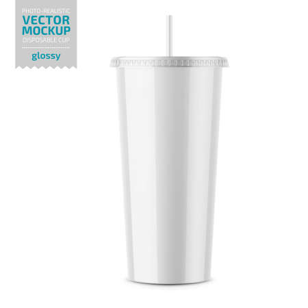 White glossy disposable cup with lid and straw for cold beverage -soda, ice tea or coffee, cocktail, milkshake. 500 ml. Realistic packaging mockup template. Vector 3d illustration. Illusztráció