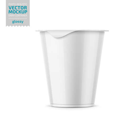 Round plastic pot with glossy carton wrap and foil cover for dairy products, yogurt, cream, dessert. 290 g. Realistic packaging mockup template. Vector illustration.