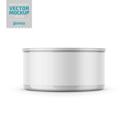 Low-profile glossy tuna can with label on white background. Photo-realistic packaging vector mockup template. Vector 3d illustration. Illustration