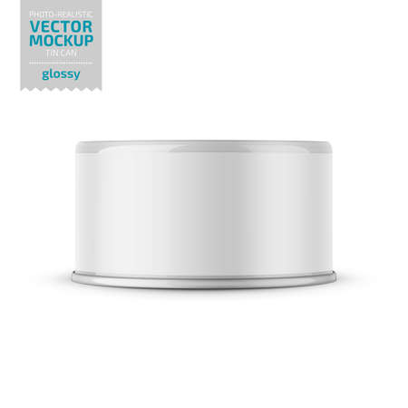 Low-profile glossy tuna can with label on white background. Photo-realistic packaging vector mockup template. Vector 3d illustration. Vectores