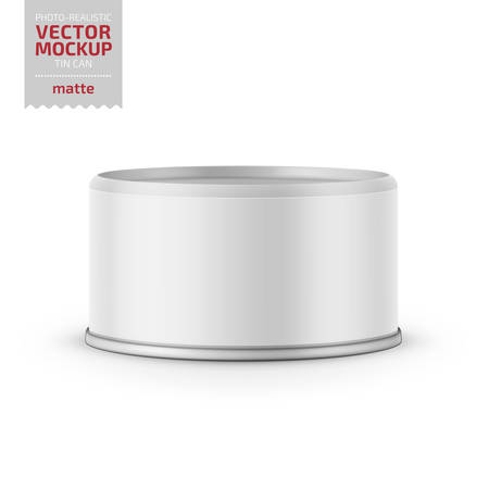 Low-profile matte tuna can with label on white background. Photo-realistic packaging vector mockup template. Vector 3d illustration.
