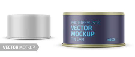 Low-profile matte tuna can with label on white background. Photo-realistic packaging vector mockup template with sample design. Vector 3d illustration. Foto de archivo - 109628251