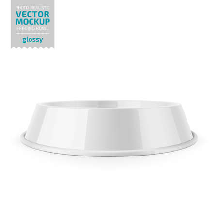 White glossy pet feeding bowl for food or water on rubber base for cats or dogs. Photo-realistic mockup template. Vector 3d illustration. Banque d'images - 109628253