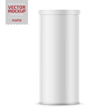 White matte paper tube with plastic lid for snacks, chips. Photo-realistic packaging mockup template. Vector 3d illustration.