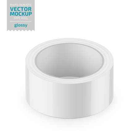 White glossy cello tape roll. Photo-realistic packaging mockup template Vector 3d illustration.