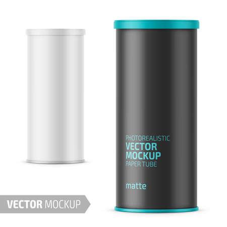 스낵, 칩용 플라스틱 뚜껑이있는 흰색 무광택 종이 튜브. 샘플 디자인이 적용된 사실적인 포장 모형 템플릿입니다. 벡터 3d 일러스트 레이 션. 벡터 (일러스트)