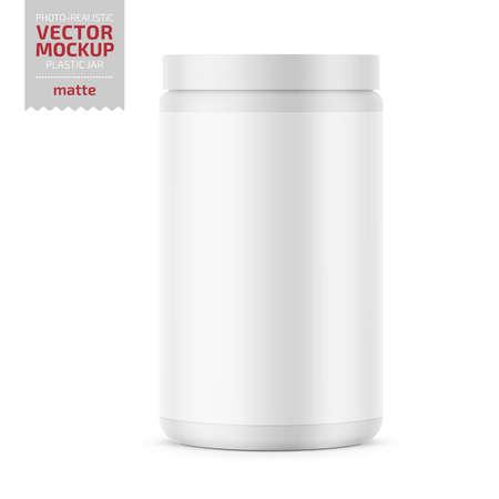 Frasco de plástico blanco brillante con tapa para polvo deportivo: proteínas, vitaminas, bcaa, tabletas. Plantilla de maqueta de embalaje fotorrealista. Ilustración vectorial 3d. Foto de archivo - 109628258