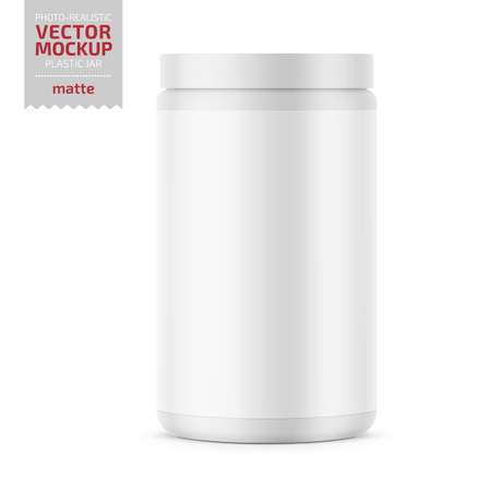 White glossy plastic jar with lid for sport powder - protein, vitamins, bcaa, tablets. Photo-realistic packaging mockup template. Vector 3d illustration. Banque d'images - 109628258