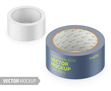 White matte cello tape roll. Photo-realistic packaging mockup template with sample design. Vector 3d illustration. Stock Illustratie