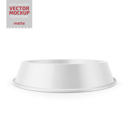 White matte pet feeding bowl for food or water on rubber base for cats or dogs. Photo-realistic mockup template. Vector 3d illustration.