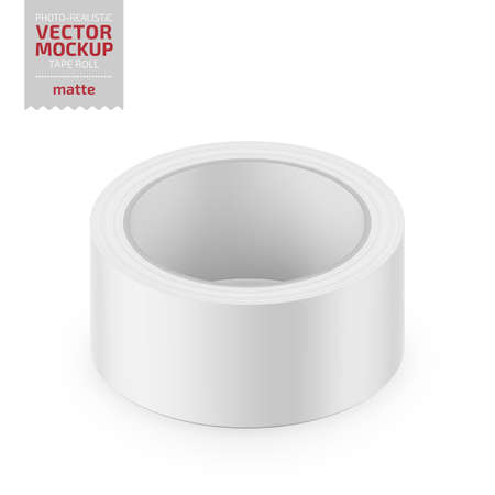 White matte cello tape roll. Photo-realistic packaging mockup template. Vector 3d illustration.