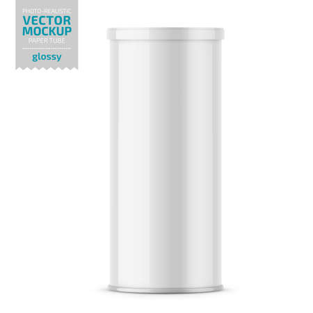 White glossy paper tube with plastic lid for snacks, chips. Photo-realistic packaging mockup template. Vector 3d illustration.