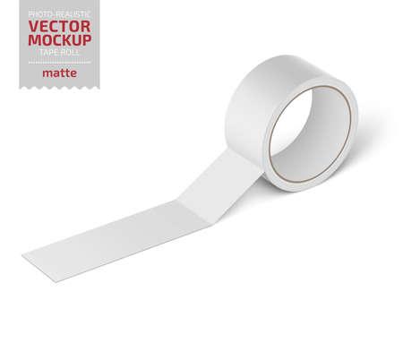 White glossy cello tape roll. Realistic vector. Reklamní fotografie - 110228471