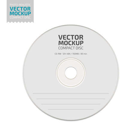 White blank compact disc mock up vector. Ilustrace