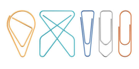 Paper Clips Of Various Sapes Vector Illustration.