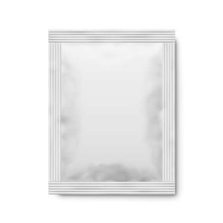 White matte paper sachet. Vector 3d illustration. Vettoriali