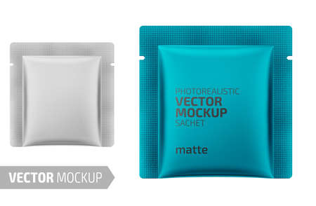 White matte square sachet. Photo-realistic packaging mockup template. Vector 3d illustration.