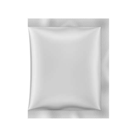 White matte sachet. Photo-realistic packaging mockup template. Vector 3d illustration. Ilustração