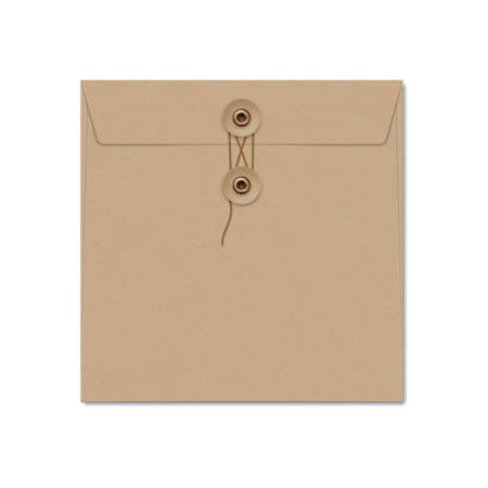 Kraft paper square string tie envelope on white.