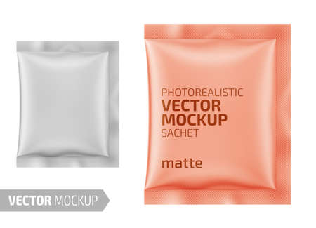 White matte paper sachet. Vector 3d illustration. 일러스트