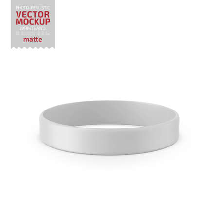 White matte silicone wristband vector mock up.