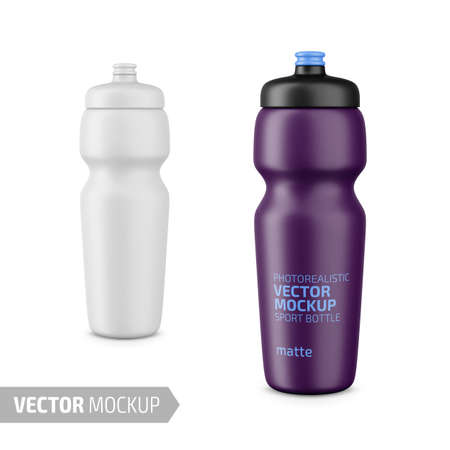 White matte plastic sport water bottle. Photo-realistic packaging mockup template with sample design. Vector 3d illustration.