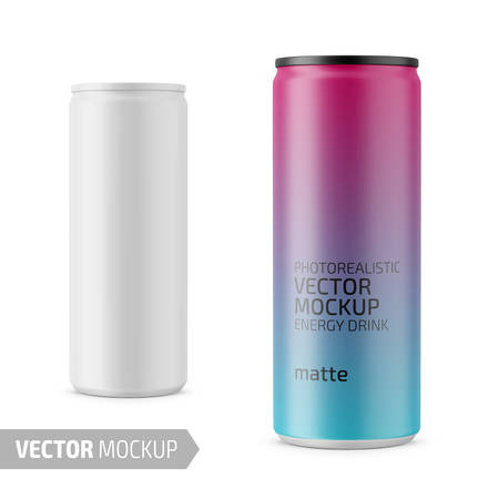 White matte energy drink can vector mockup.