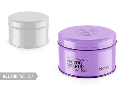 Round glossy tin round box template. Illustration