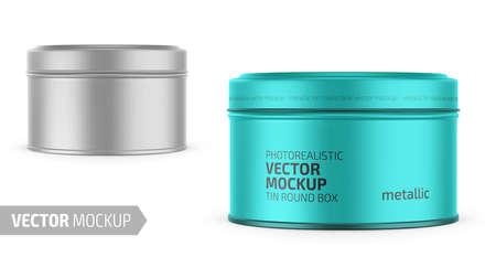 Round metallic tin round box template.