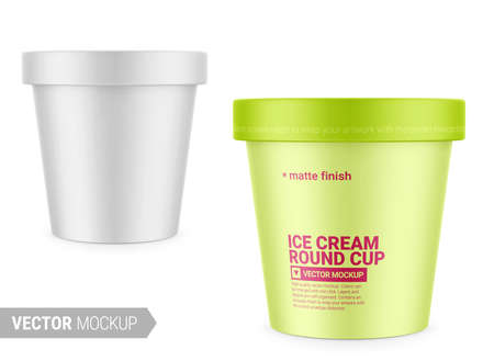 White round matte ice cream cup. Photo-realistic packaging mockup template with sample design. Vector 3d illustration. Vettoriali