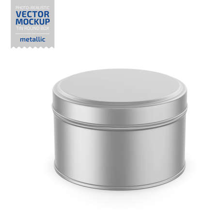 Round white metallic tin round box. Container for dry products - tea, coffee, sugar, cereals, candy. Photo-realistic packaging vector mockup template. Vector 3d illustration.