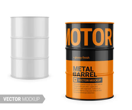 White glossy 200 l metal barrel. Container for liquid chemical products - oil, fuel, gasoline. Photo-realistic packaging vector mockup template with sample design. Vector 3d illustration.