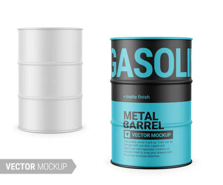 White matte 200 l metal barrel. Container for liquid chemical products - oil, fuel, gasoline. Photo-realistic packaging vector mockup template with sample design. Vector 3d illustration.