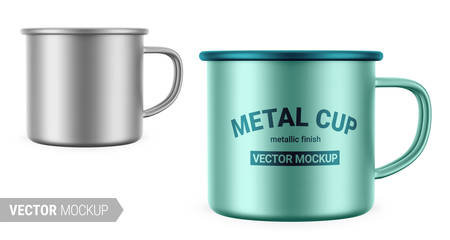 Metallic gray enamel metal cup. Realistic packaging mockup template with sample design. Vector 3d illustration. Contains an accurate mesh to wrap your artwork with the correct envelope distortion. Vektorgrafik