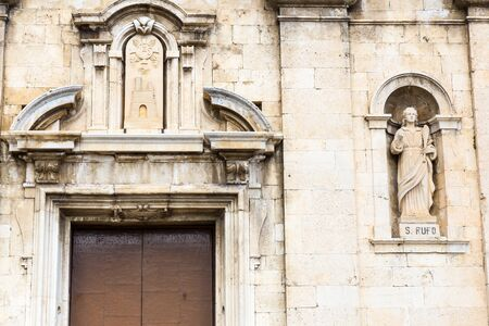 Castel di Sangro, Abruzzo, Italy. October 13, 2017. Basilica of Saint Mary enjoys the ancient fifteenth century loggia and a 14th century high relief depicting the Piet within the porch