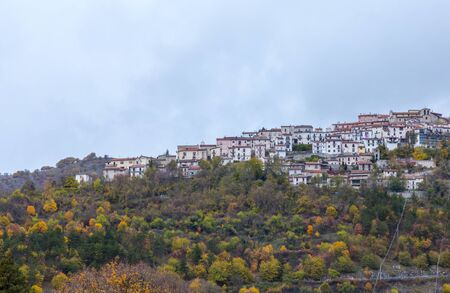Barrea, Abruzzo, Italy. October 13, 2017. Documentary photograph of the country Barrea framed from afar Banco de Imagens