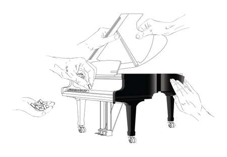 put the key: Build a Piano Illustration Illustration