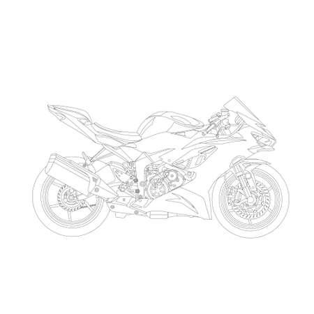 Motor sport line art. stroke live line Vektoros illusztráció