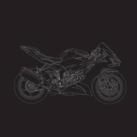 Motor sport line art black background. stroke live line. moto gp