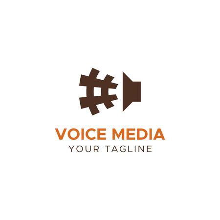 logo music: VOICE MEDIA vector logo template Illustration