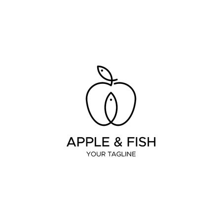 APPLE & FISH vector logo template
