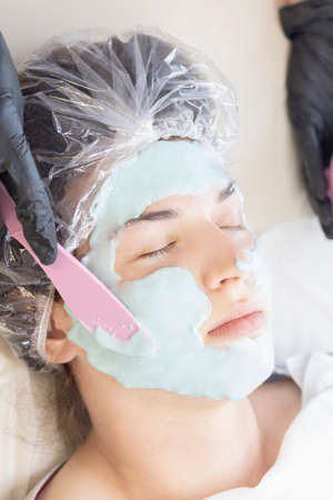 Doctor beautician applied a face mask to a beautiful young woman. Cosmetology skin care, beauty