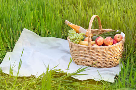 Picnic wicker basket with food on grass in the field Stock fotó